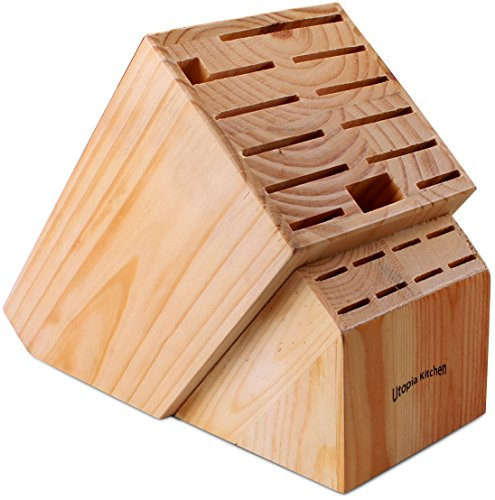 Knife Block Holder Without Knives - Pine Wood - by Utopia Kitchen (Pine Wood) (Wood)
