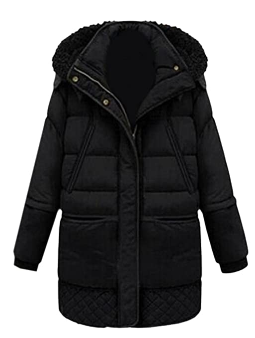 Honey GD Womens Hooded Simple Mid Down Puffer Jacket