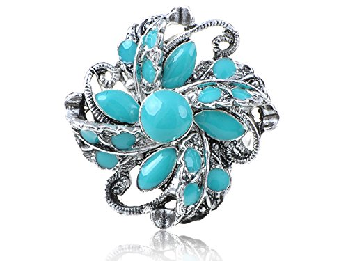 Antique Silver Tone Metal Faux Turquoise Bead Swirling Flower Adj Ring