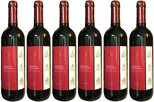 PRIMITIVO Di Manduria DOC (6 x 0,75 L) trockener Rotwein - 14,5% Vol. Italien