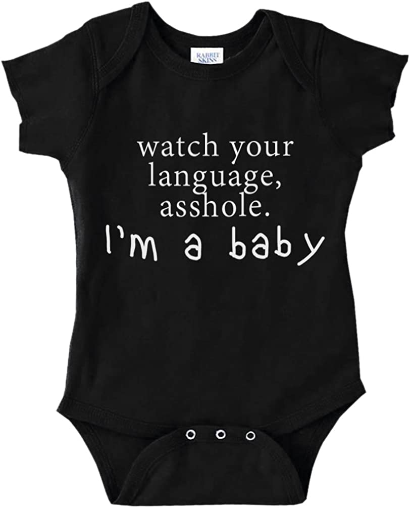 Decal Serpent Watch Your Language Asshole, I'm A Baby Funny Baby Bodysuit Infant