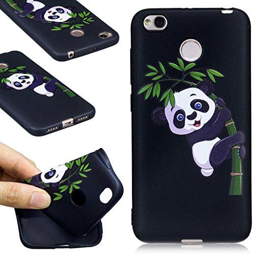 Xiaomi Redmi 4X Funda , IJIA Ultrafino Pandas Lindo TPU Negro Silicona Suave Cover Tapa Caso Parachoques Carcasa Cubierta para Xiaomi Redmi 4X (BF36) BF35