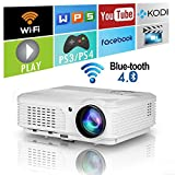 2018 Updated Android 6.0 3600 Lumens HD Wireless Projector with Wifi Bluetooth HDMI Support 1080P Airplay LED Home Theatre Projector for TV Phones PC Laptop Tablet DVD Xbox PS4 Game Outdoor Movies