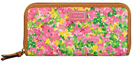 Nine West Shoslg Zip Aro SM-Pink Mul MM Wallet,Pink Multi,One Size