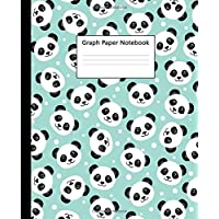 Graph Paper Notebook: Quad Ruled 5 x 5 (.20'') Graphing Paper Composition Book for Math Science Students Teachers - 5 Squares per Inch, Large - Pretty Panda Bear Face Cover