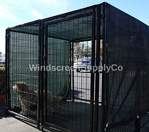 WindscreenSupplyCo Heavy Duty Dog Kennel Shade Top and Side Coverage, Sunblock Shade Knitted Mesh Tarp - 85% UV Protection (Not The Kennel) (8