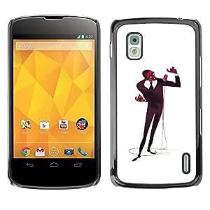 Be Good Phone Accessory // Dura Cáscara cubierta Protectora Caso Carcasa Funda de Protección para LG Google Nexus 4 E960 // Microphone Singer Man Black Music Art