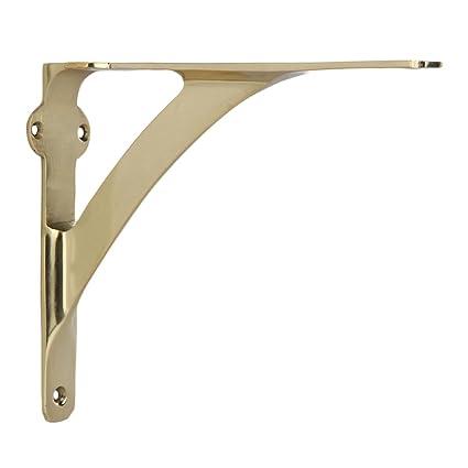 Amazon.com: Set Of 2 Classic 7 3/8 Inches Brass Shelf Brackets With  Polished Brass Finish Heavy Duty Adjustable Support Brackets Easy  Installation Hardware: ...