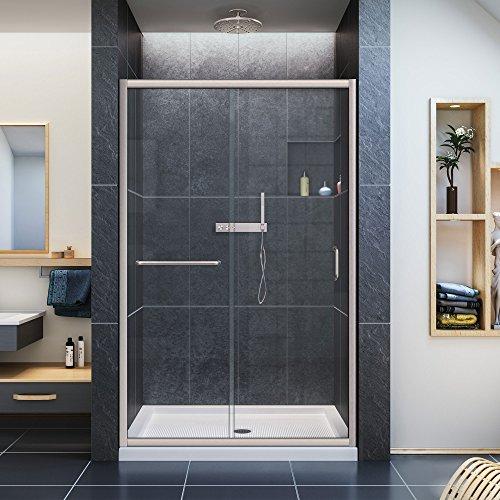 dreamline infinityz semiframed sliding shower door 44 in to 48 in x 72 in brushed nickel
