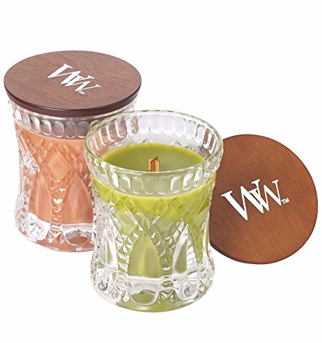 WoodWick PUMPKIN BUTTER and APPLE BASKET, Highly Scented Candles, Fragrance For The Season Two Candle Set, Autumn Fall Themed Gift Box, Jeweled Hourglass Jars, Medium 4-inch, 4.8 oz Each ()