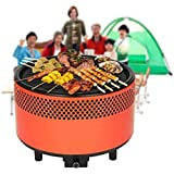 Portable Smokeless Charcoal BBQ Grill,SGODDE Compact Barbecue Grill - Built-in Battery Operated Fan with Removable Electronics for Camping/Picnics/Backpacking/Backyards/Survival/Emergency orange 1