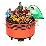 Image of Portable Smokeless Charcoal BBQ Grill,SGODDE Compact Barbecue Grill - Built-in Battery Operated Fan with Removable Electronics for Camping/Picnics/Backpacking/Backyards/Survival/Emergency orange 1