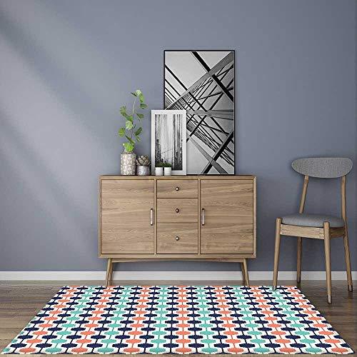 - Soft Microfiber Shag Bath Rug Hexagonal Chain Pattern Modern Geometrical Artistic Tile Mint Green Orange Dark Blue Mildew Resistant