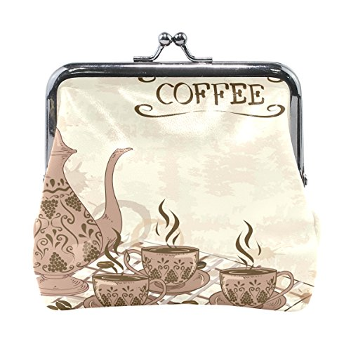 Price comparison product image AHOMY Coffee Tableware PU Leather Small Wallet Card Holder Coin Purse Clutch Pouch Handbag for Women Girls Students