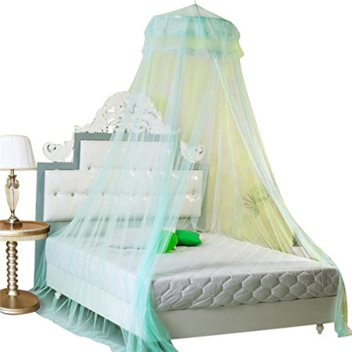 5/0 Queen Canopy Bed - Housweety New Round Lace Curtain Dome Bed Canopy Netting Princess Mosquito Net (Aqua Green)