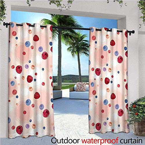cobeDecor Peach Exterior/Outside Curtains Raspberries Blueberries Cranberries Food Themed Design with Abstract Circle Backdrop for Patio Light Block Heat Out Water Proof Drape W72 x L96 Multicolor -