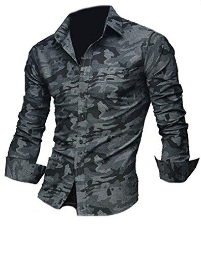 YZXH Mens Vouge Camo Slim Button-down Long Sleeve Shirts Black - Mens Vouge