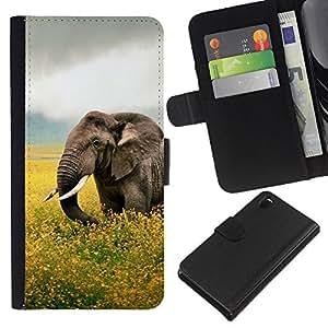 YiPhone /// Tirón de la caja Cartera de cuero con ranuras para tarjetas - Happy Elephant - Sony Xperia Z3 D6603