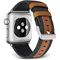 Skylet 42mm/38mm Canvas Fabric Bands with Genuine Leather Straps for Apple Watch Series 3/2/1/Nike+ (Black)