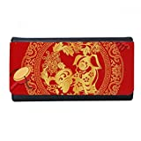 2018 New Year Happy Red Paper-cut China Dog Wallet Rectangle Card Multi-Function Purse Gifts