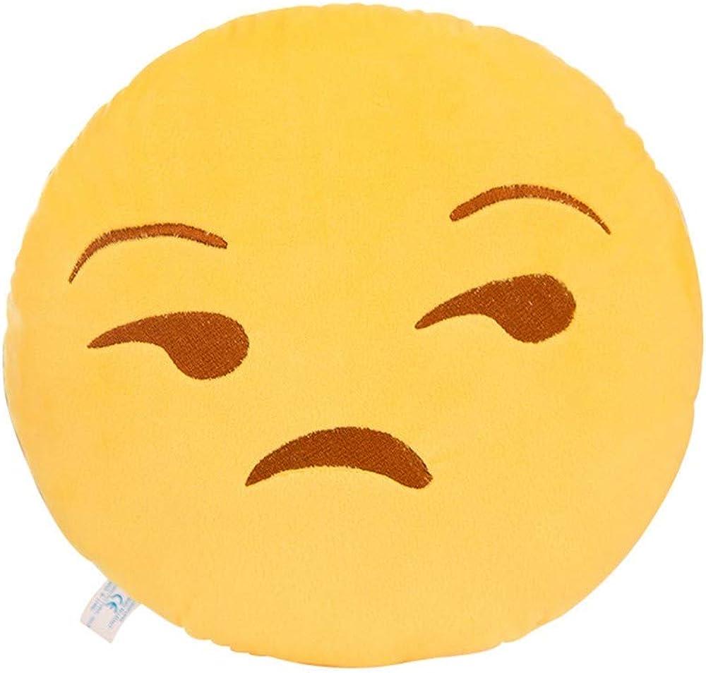 IMJONO Col/ère Mignon QQ Expression Taie doreiller Smiley Emoticon Farci Peluche Poup/ée jouet/Doux Bureau Voiture Salon Canap/é D/écoration Housse de coussin 32cm