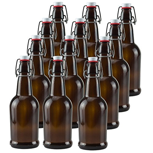 16 oz Amber Glass Beer Bottles for Home Brewing 12 Pack with Flip Caps ()