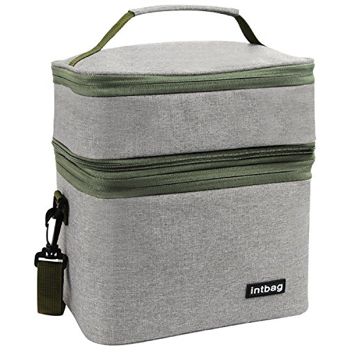 ox Insulated Lunch Bag for Men,Women, Large Refrigerated Tote Bag Double Deck Cooler for Work Office School Leisure, Picnic Bag Grey ()