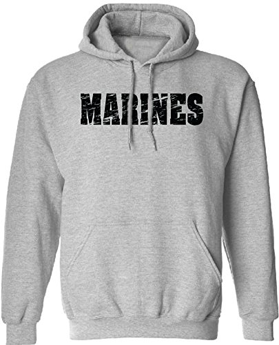Joe's USA tm- Vintage Marine Military Hoodies - Hooded Grey Sweatshirt, XL Army Grey Hooded Pullover Sweatshirt