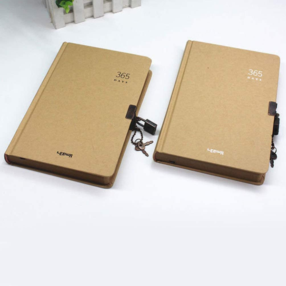 NUOBESTY Lock Notebook 365 Days Notebook Planner Notepad Diary Travel Journal Notepad for School Office Random Style