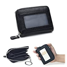 Hoxis Leather Zipper Around Coin Purse Keychain Wallet ID Card Holder 3 Color
