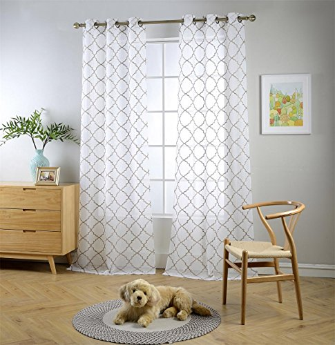 Miuco White Sheer Curtains Embroidered Trellis Design Grommet Curtains 95 Inches Long for Bedroom 2 Panels (2 x 37