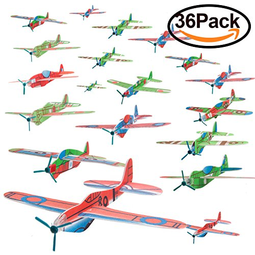 WATINC 36pcs Glider Airplanes, Birthday Party Plane, Manual Throwing, Challenging, Outdoor Sports Toy, Flying Model Foam Airplane, Kids Gift Fun (Glider Plane 36P) (Airplane Model Toy)