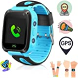 Smart Watch for Kids, GPS Tracker Micro Sim Card Support Smart Phone Control (Android, iOS), SOS Call, Touch Screen, Camera, Flashlight and More - Blue