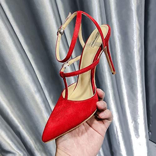 Donna colore 5cm Alti 5cm Vintage Sexy Alto Con 34 Da Sandali 10 Spillo Dimensioni Tacchi Red 10 A Tacco fI5UwqwPx