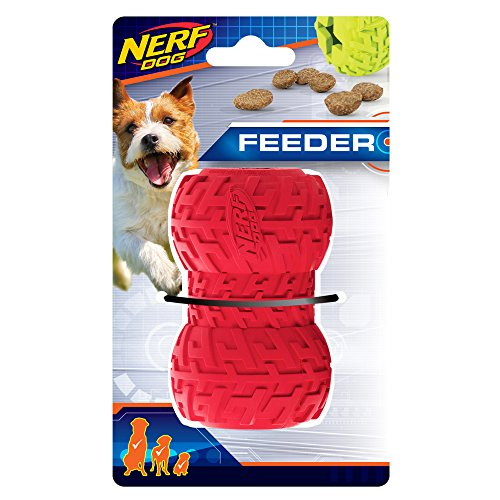Nerf Dog 3.5in Tire Treat Feeder: Red, Dog Toy