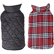 Pet Dog Jacket Vest Cozy Waterproof Windproof Snowproof Reversible British Style Plaid Dog Coat Winter Warm Dog Apparel with Furry Collar (Red, S)