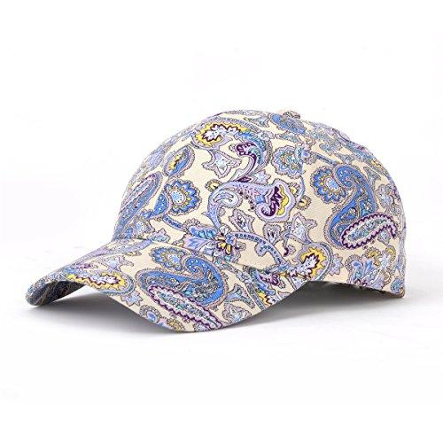 JOOWEN Floral Print Baseball Cap Adjustable 108% Cotton Canvas Dad Hat Hats For Women (Paisley-Blue) ()