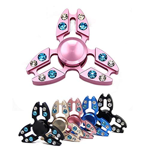 Callancity Crystal Fidget Finger Spinner-Luxury Handwork Shiny Diamond Tri Fidget Hand Finger Toy Spinner for ADHD Anxiety