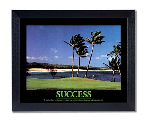 Golf Motivational Picture - SUCCESS Motivational Ocean Golf Wall Picture Black Framed Art Print