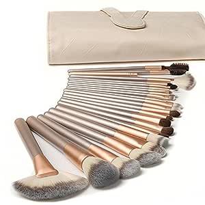 Ammiy Branded 18 Pcs Makeup Brush Set Professional Wood Handle Premium Synthetic Kabuki Foundation Blending Powder Eyeshadow Eyeliner Brush Tool with PU Leather Bag
