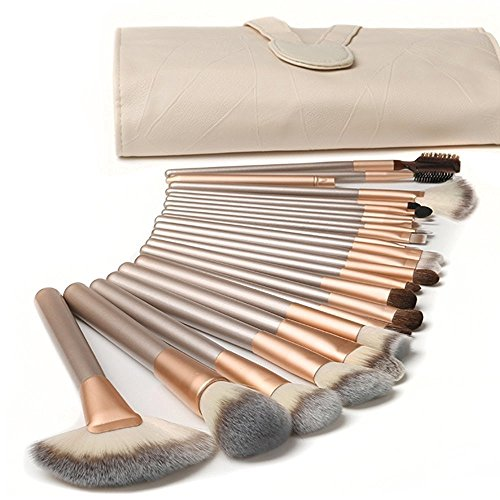 Ammiy® 18 Pcs Makeup Brush Set Professional Wood Handle Premium Synthetic Kabuki Foundation Blending Blush Concealer Eye Face Liquid Powder Cream Cosmetics Lip Brush Tool Brushes Kit ( White Case Bag)