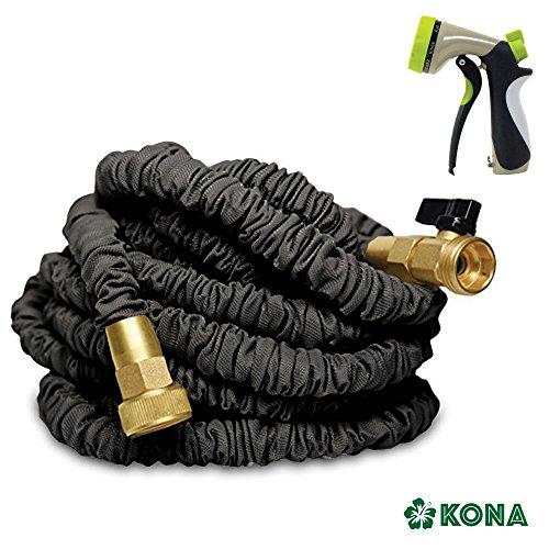 50' Heavy Duty Expandable Garden Water Hose by KONA + Free 8-Way Sprayer - Flex Pressure Washer