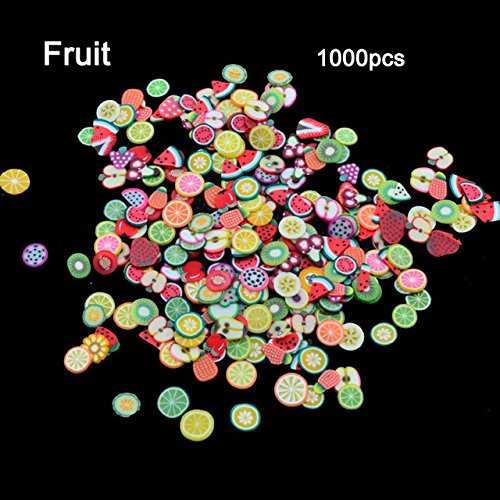 1000Pcs/Bag Nail Art Decoration Fruit Flower Cartoon Smiley Heart Feather Animal Fimo 3D Manicure Polymer Clay Nail Sticker Fruit by MJQ