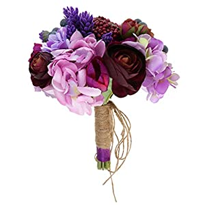 MonkeyJack Purple Wedding Hand Bouquet Silk Flowers Bride Holding Flower Wedding Proms 64