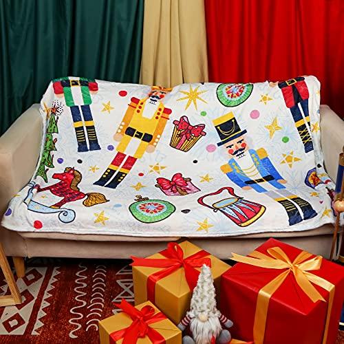 Freesooth Christmas Nutcracker Throw Nutcracker Plush Blanket Nutcracker Fuzzy Blanket for Bed Sofa Couch Party Decoration