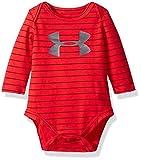 Under Armour Baby Boys' Big Logo Stripe Bodysuit, Red, 0/3M