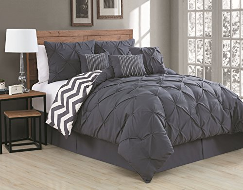 Avondale Manor 7-Piece Ella Pinch Pleat Comforter Set, Queen, Charcoal - Manor Comforter Set