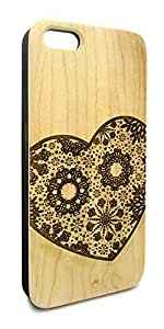 Genuine Maple Wood Organic Cute Heart Abstract Pattern Snap-On Cover Hard Case for iPhone 5/5S