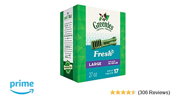 GREENIES Large Natural Dog Dental Care Chews Oral Health Dog Treats Fresh Flavor, 27 oz. Pack (17 Treats)