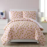 2 Piece Twin Girls Dotted Comforter Set, Allover Contemporary Polka Dot Pattern, Beautiful Metallic Dots Design, High Class Reversible Bedding, Adorable Baby Pink, Gold Metallic Color